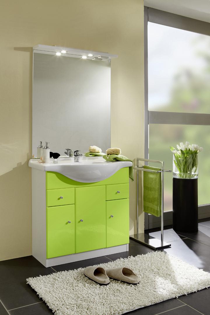 Meuble de salle de bain contemporain avec vasque et miroir blanc vert novo - Meuble de salle de bain contemporain ...