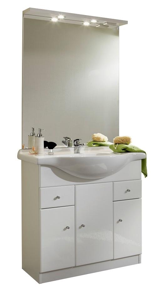 meuble de salle de bain contemporain avec vasque et miroir blanc novo. Black Bedroom Furniture Sets. Home Design Ideas