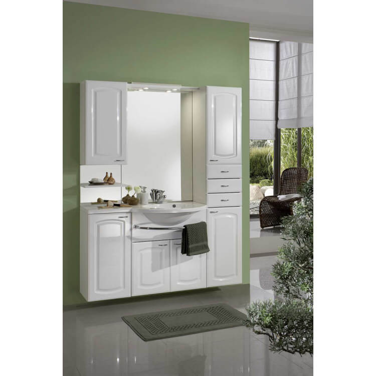 Meuble de salle de bain contemporain avec vasque et miroir blanc zola - Meuble de salle de bain contemporain ...
