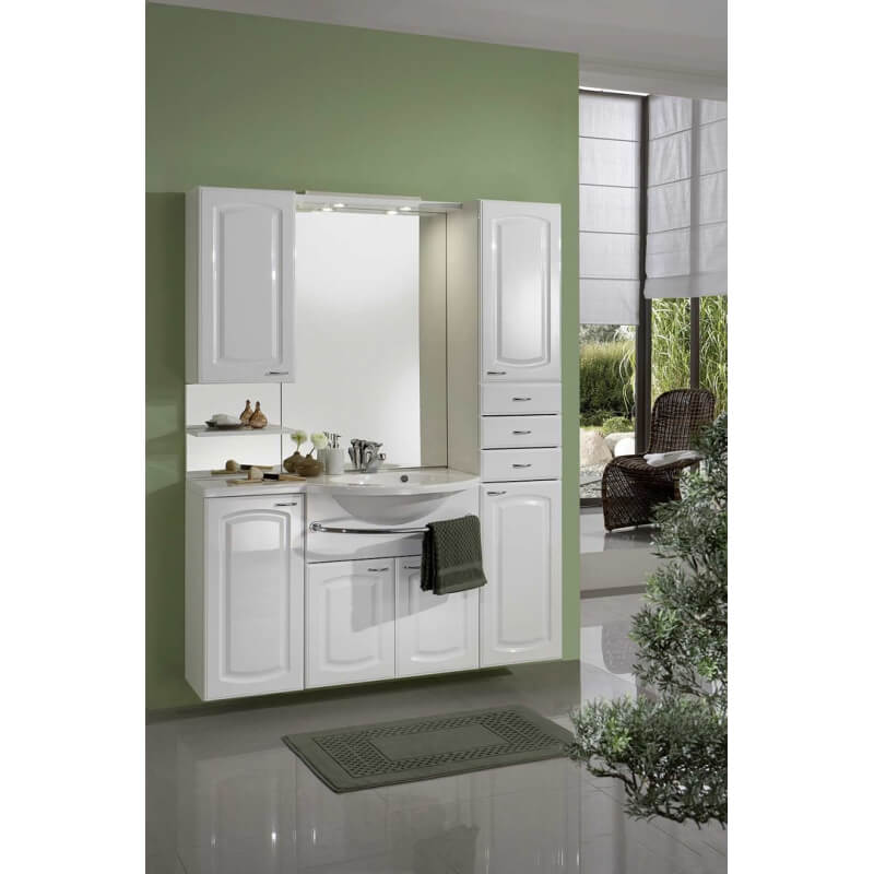 meuble de salle de bain contemporain avec vasque et miroir blanc zola. Black Bedroom Furniture Sets. Home Design Ideas