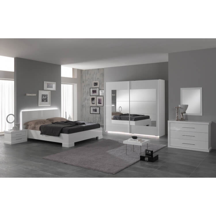 Chambre adulte design laquée blanche Alcove