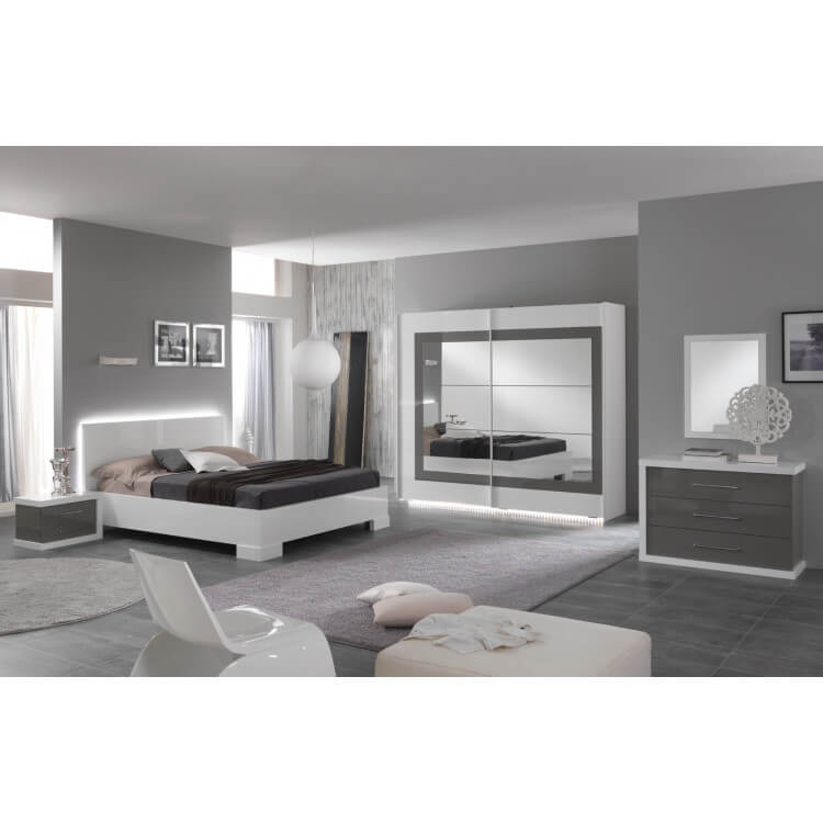 Chambre Adulte Design Laquee Blanche Et Grise Hanove