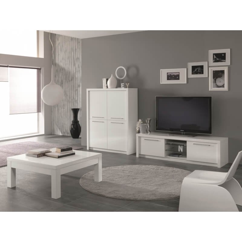vaisselier argentier design portes pleines laqu blanc adamo matelpro. Black Bedroom Furniture Sets. Home Design Ideas