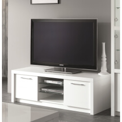 Meuble TV design 150 cm laqué blanc Adamo