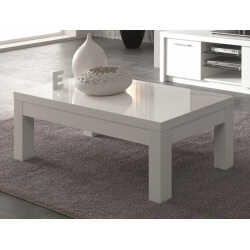 Table basse rectangulaire design laquée blanche Adamo