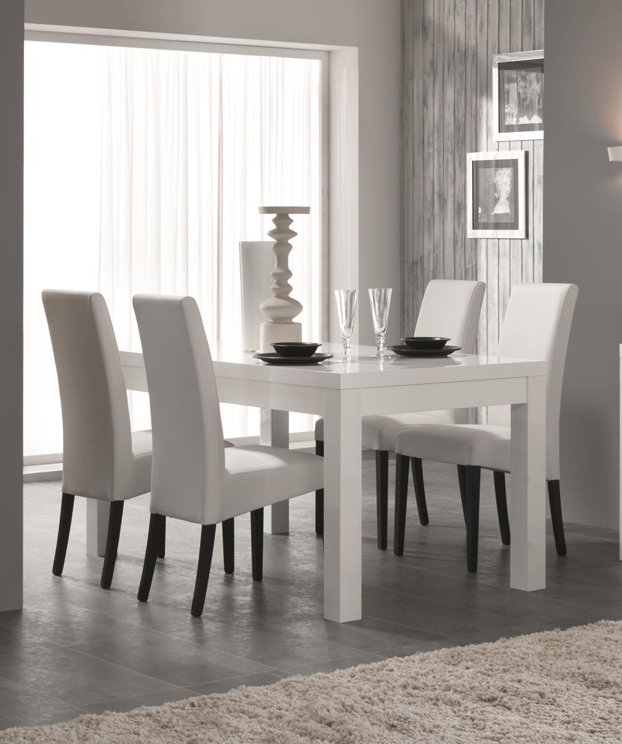 Table de salle à manger design laquée blanche Adamo
