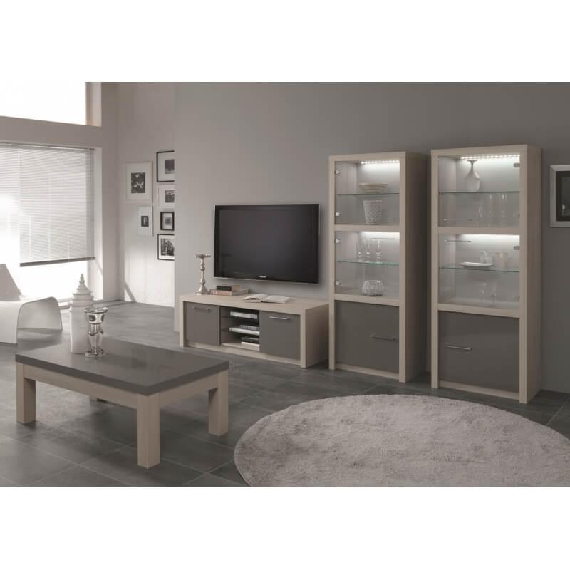 meuble tv design 150 cm ch ne blanchi gris laqu rosano. Black Bedroom Furniture Sets. Home Design Ideas