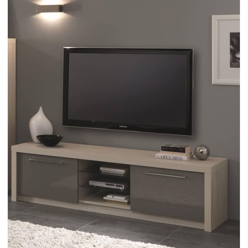 meuble tv design 180 cm ch ne blanchi gris laqu rosano. Black Bedroom Furniture Sets. Home Design Ideas
