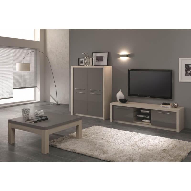 Meuble tv design 180 cm ch ne blanchi gris laqu rosano - Meuble tv design 100 cm ...