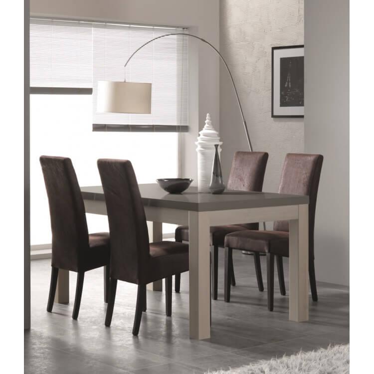 Table de salle à manger design chêne blanchi/gris laqué Rosano