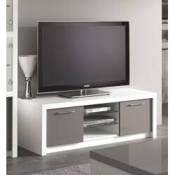 Meuble TV design 150 cm laqué blanc/gris Agadir