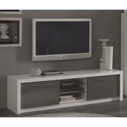 Meuble TV design 180 cm laqué blanc/gris Agadir