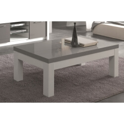 Table basse rectangulaire design laquée blanc/gris Agadir