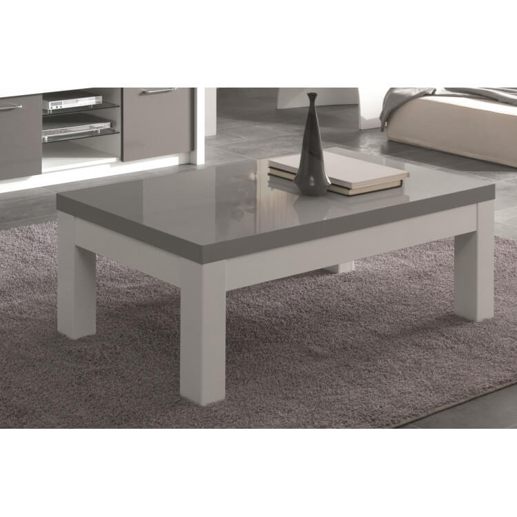 Table Basse Rectangulaire Design Laquée Blancgris Agadir Matelpro