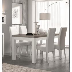 Table de salle à manger design laquée blanc/gris Agadir