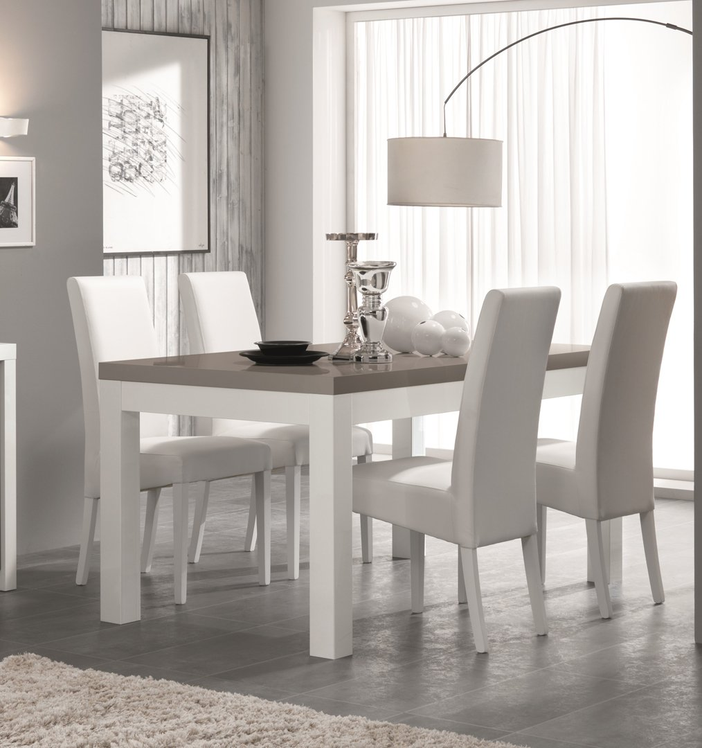 Table de salle manger design laqu e blanc gris agadir matelpro for Table de salle a manger design