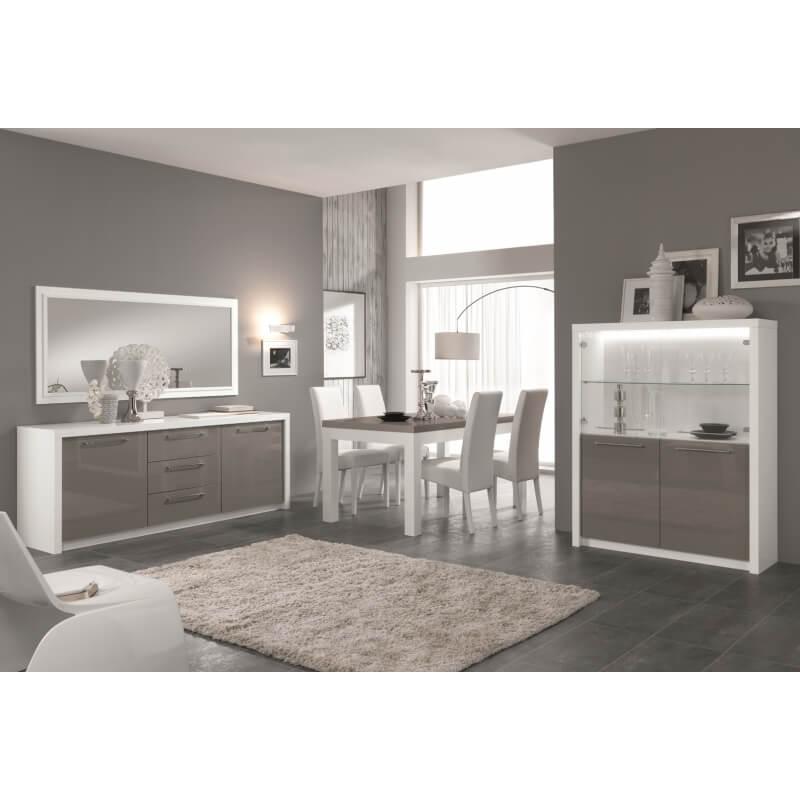 table de salle manger design laqu e blanc gris agadir matelpro On salle a manger gris blanc