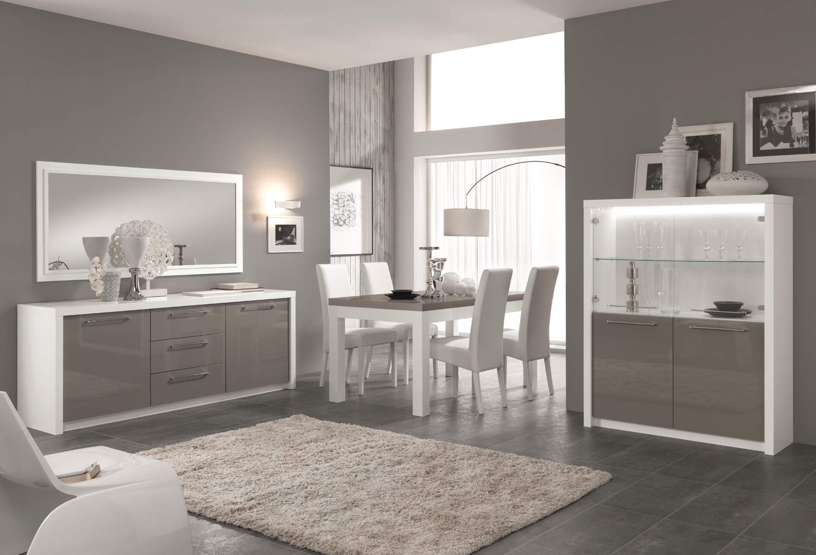 table de salle manger design laqu e blanc gris agadir. Black Bedroom Furniture Sets. Home Design Ideas