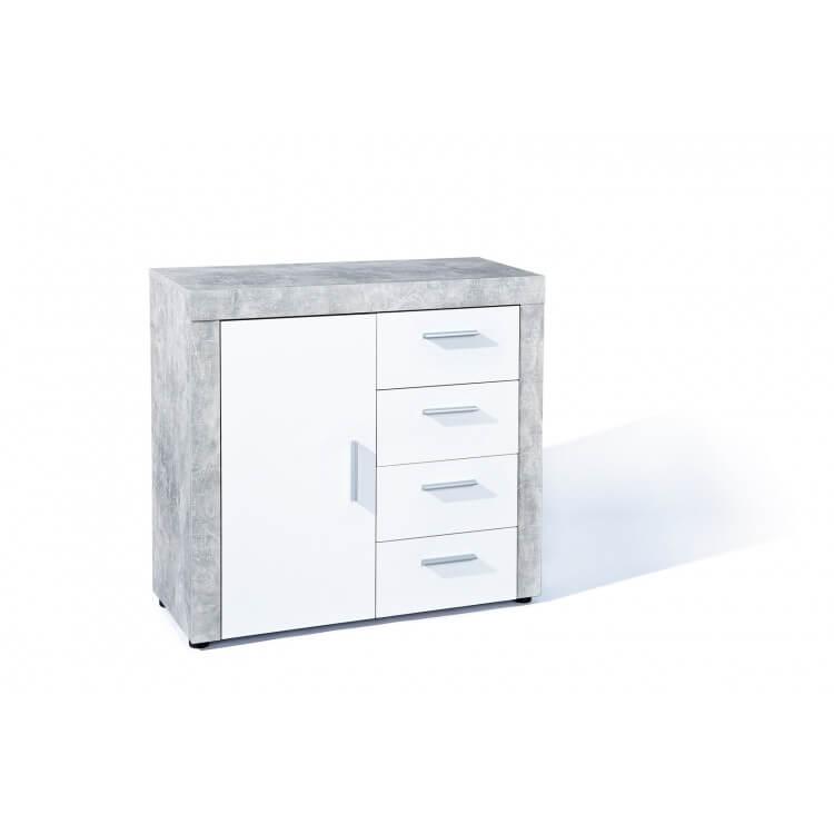 Meuble de rangement contemporain 94 cm blanc/béton Colibri