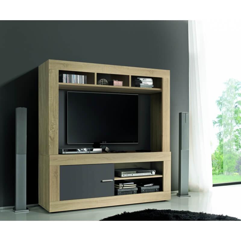 banc tv contemporain ch ne sonoma gris opaque constance. Black Bedroom Furniture Sets. Home Design Ideas