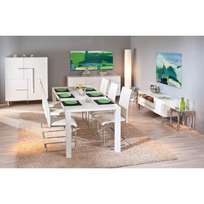 table de salle manger extensible design laqu e blanche. Black Bedroom Furniture Sets. Home Design Ideas