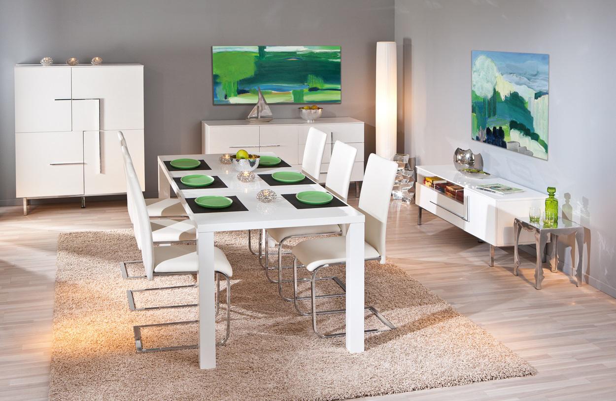 table de salle manger extensible design laqu e blanche. Black Bedroom Furniture Sets. Home Design Ideas
