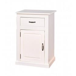 Meuble de rangement contemporain 1 porte/1 tiroir en pin massif blanc Cassis