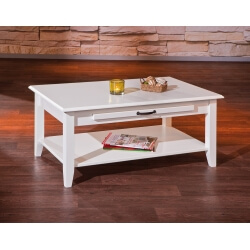 Table basse contemporaine en pin massif blanc Cassis