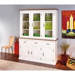 Vitrine contemporaine 6 portes/3 tiroirs en pin massif blanc/brun Sepia