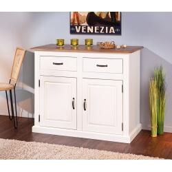Meuble de rangement contemporain 2 portes/2 tiroirs en pin massif blanc/brun Sepia