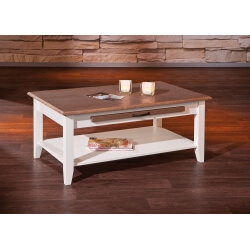 Table basse contemporaine en pin massif blanc/brun Sepia