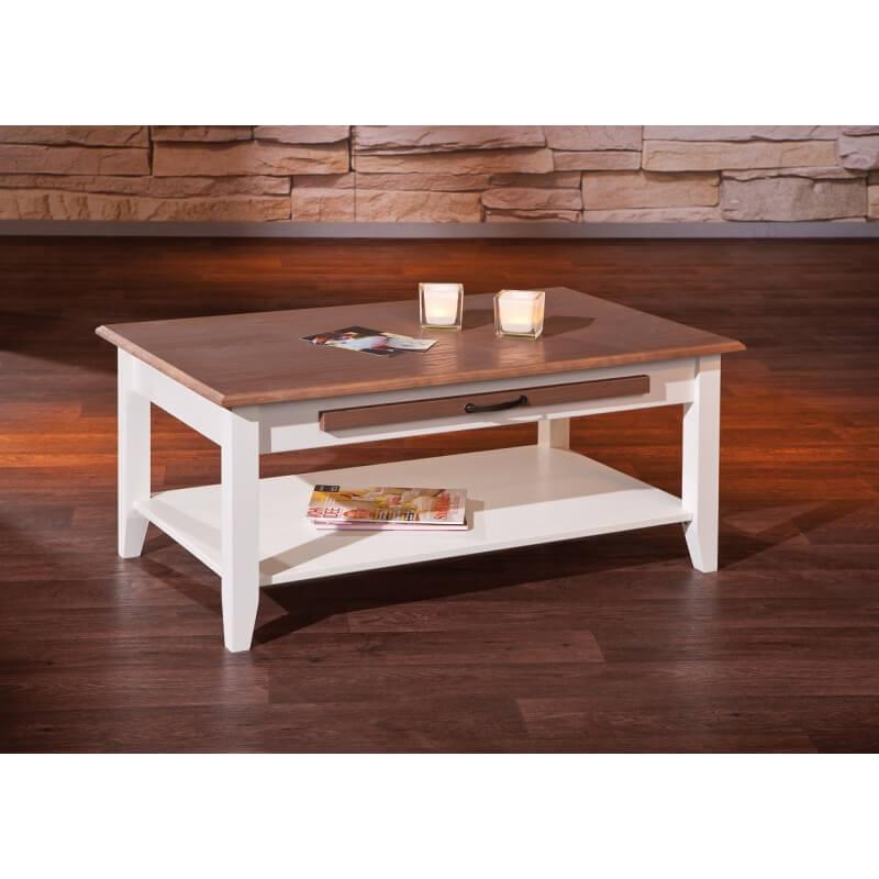 table basse contemporaine en pin massif blanc brun sepia. Black Bedroom Furniture Sets. Home Design Ideas