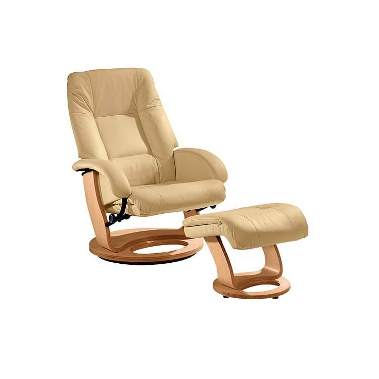 Fauteuil de relaxation manuel cuir avec repose-pieds SWING