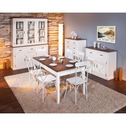 Salle à manger contemporaine en pin massif blanc/brun Sepia