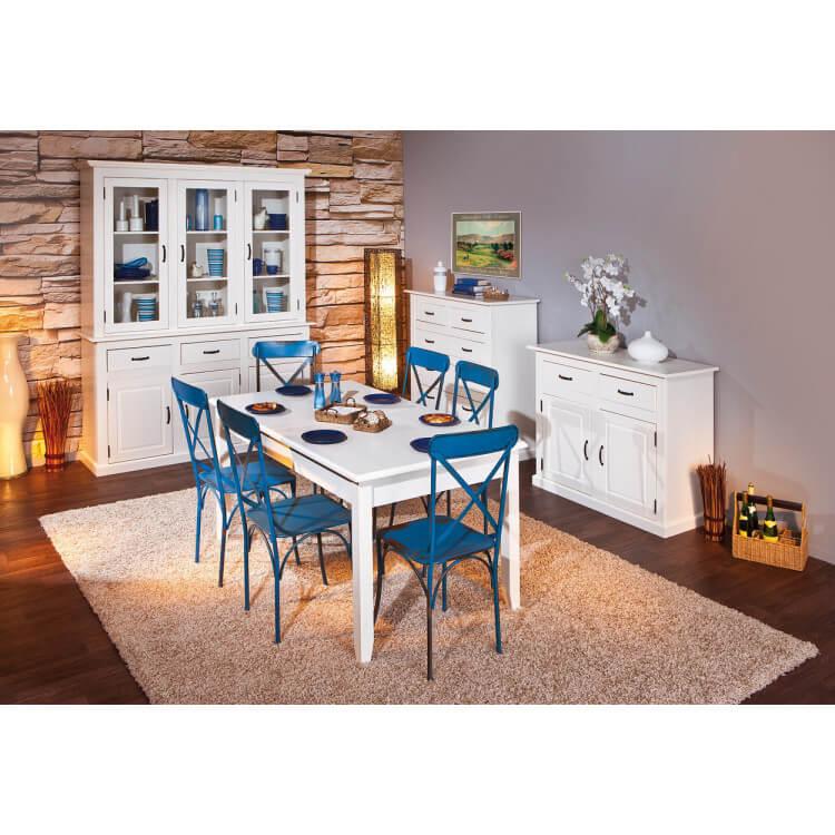 Salle à manger contemporaine en pin massif blanc Cassis
