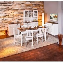 Salle à manger contemporaine en pin massif blanc/brun Radja