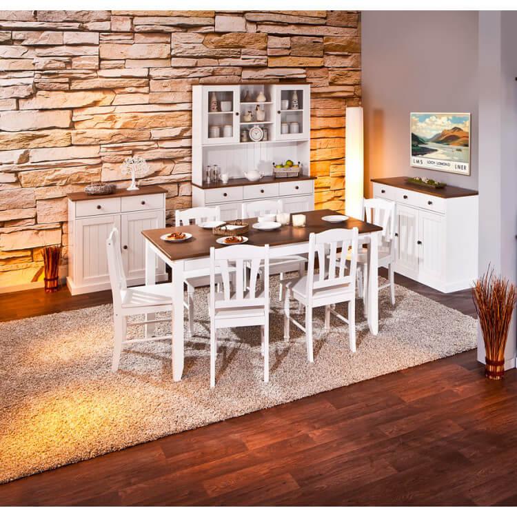 Salle à manger style campagne en pin massif blanc Radja