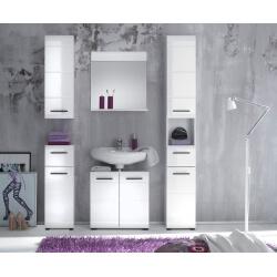 Ensemble de salle de bain design 5 éléments coloris blanc Kyrios II