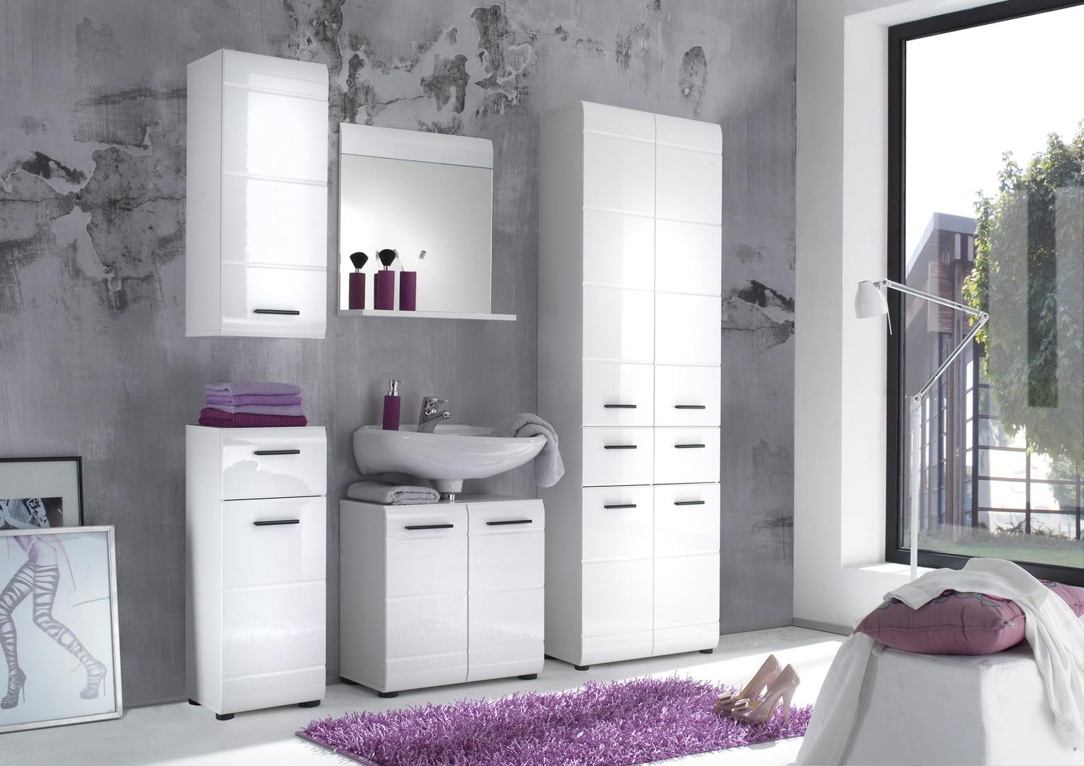 Ensemble de salle de bain design 5 l ments coloris blanc kyrios iii matelpro - Element de salle de bain ...