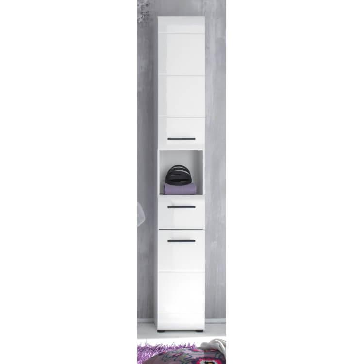 Colonne de salle de bain design 2 portes/1 tiroir coloris blanc Kyrios II