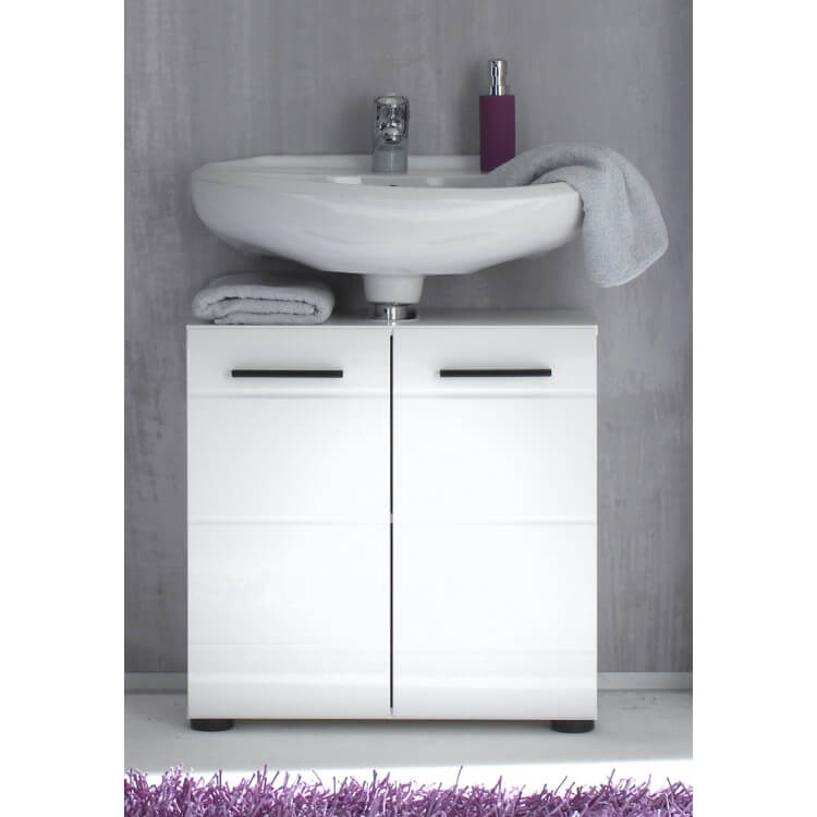 Meuble Sous Lavabo Design 2 Portes Coloris Blanc Kyrios Matelpro