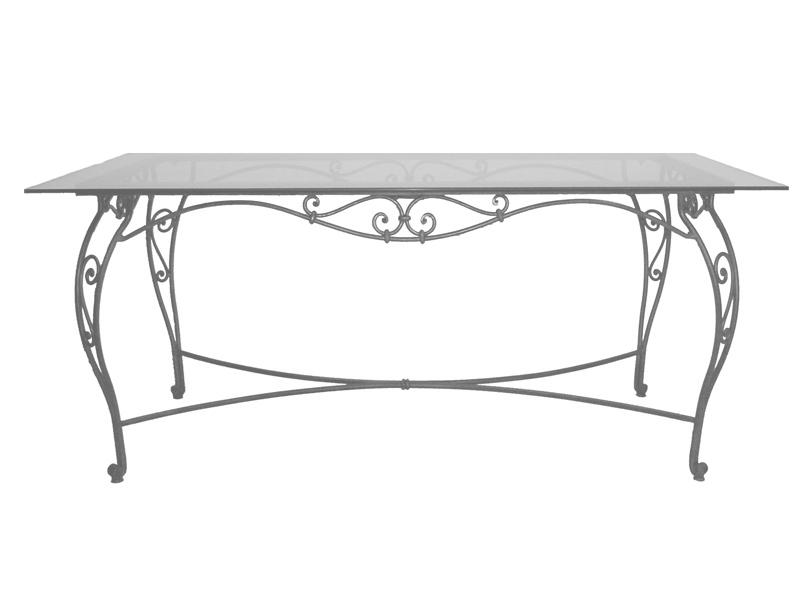 Table verre & fer forgé rectangulaire de salle à manger VERONE