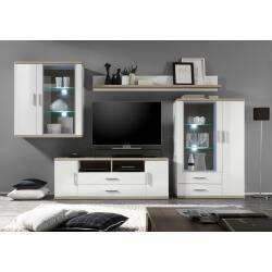 Composition TV design 4 éléments avec éclairage coloris blanc/chêne clair Athena