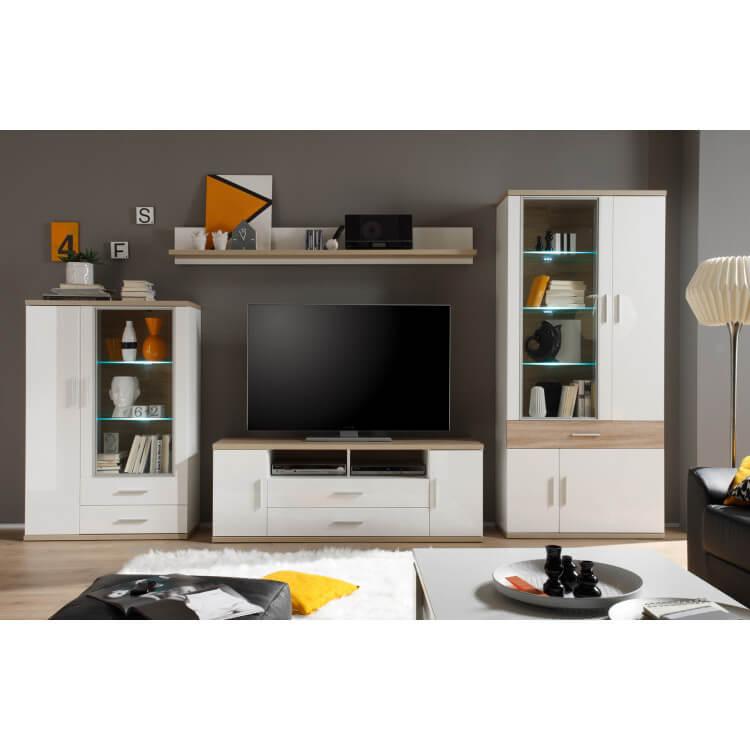 Composition TV design 4 éléments avec éclairage coloris blanc/chêne clair Athena II