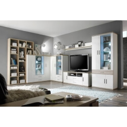 Composition TV design 7 éléments avec éclairage coloris blanc/chêne clair Athena