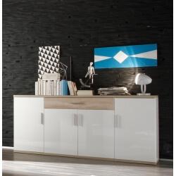 Buffet/bahut design 4 portes/2 tiroirs coloris blanc/chêne clair Athena