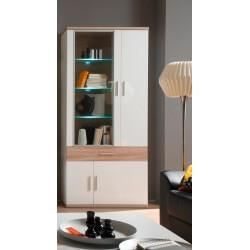 Vitrine design 4 portes/1 tiroir avec éclairage coloris blanc/chêne clair Athena