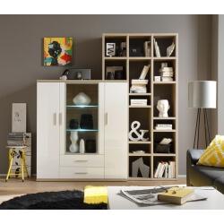 Meuble de rangement design avec éclairage coloris blanc/chêne clair Athena