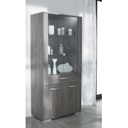 Vitrine contemporaine 4 portes/1 tiroir chêne foncé Murano