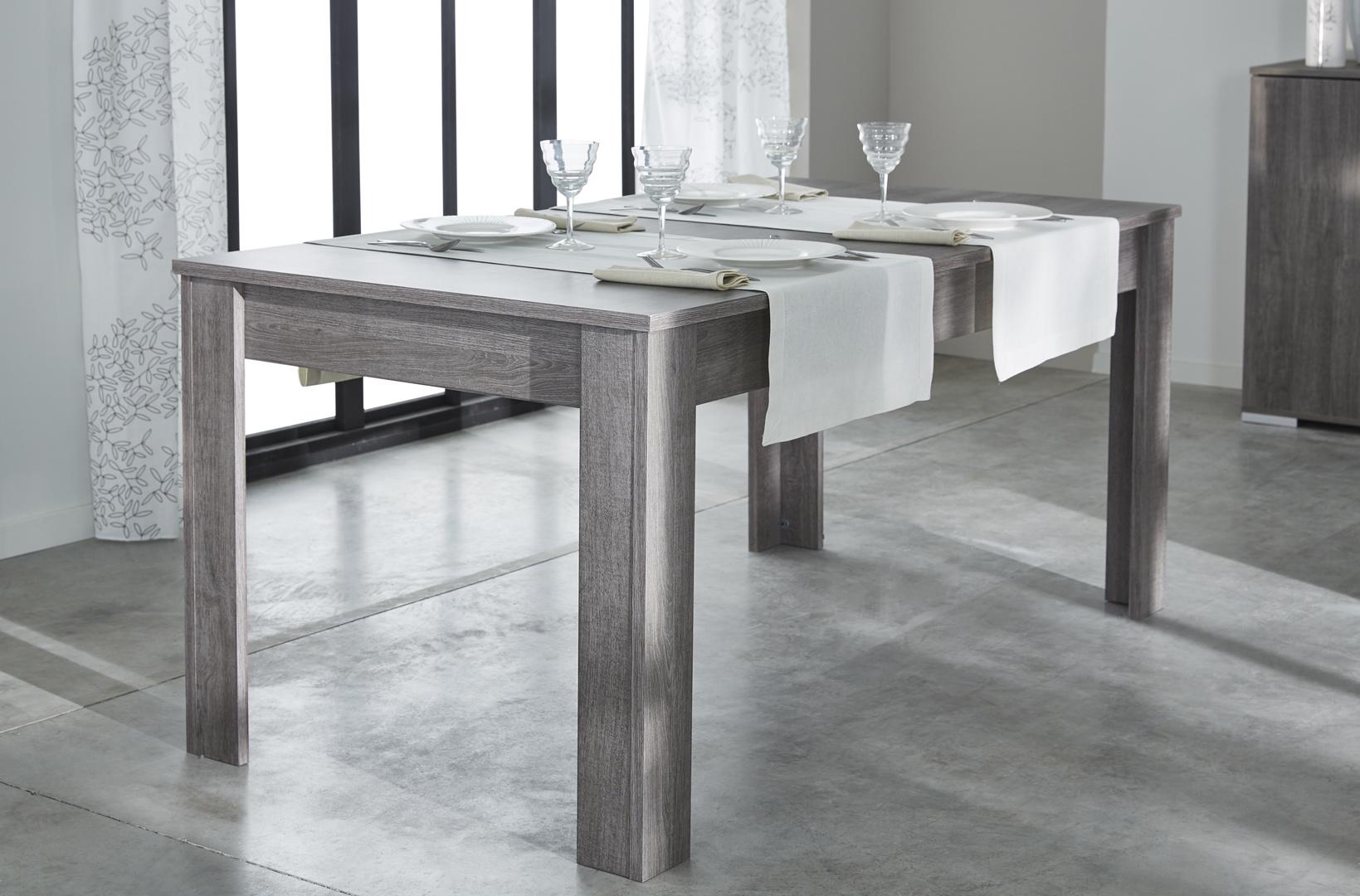 Table de salle à manger contemporaine rectangulaire chêne foncé Murano